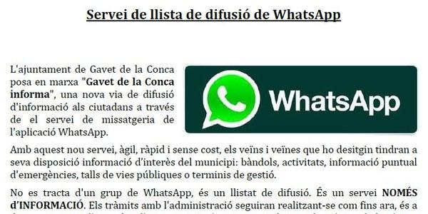 L'ajuntament de Gavet de la Conca crea una llista de difusió de Whatsapp per mantenir informats als veïns i veïnes