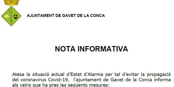NOTA INFORMATIVA - Actuacions excepcionals per l'Estat d'Emergència